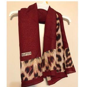 Accessories - NWOT burgundy leopard print scarf/shawl